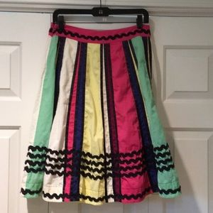 Anthropologie Odille Rick Rack Circle Skirt Sz 6